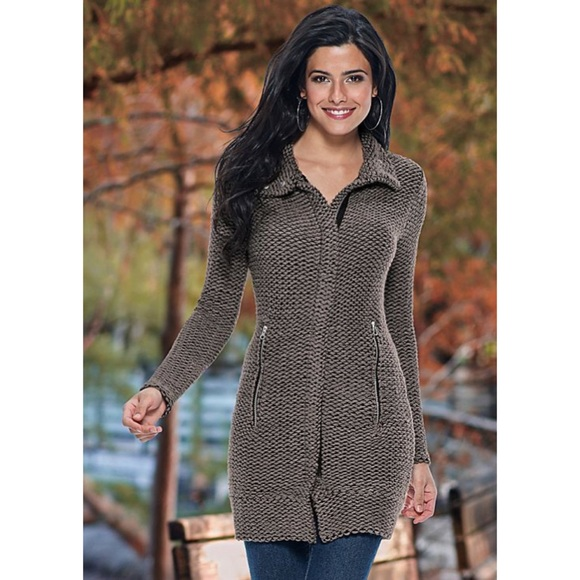 FWP Venus Taupe Zip Front Knit Sweater Coat